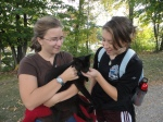 A cat, petted by Johanna and Julia last fall.