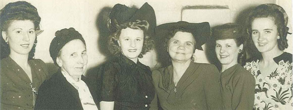 """My grandmother, Cecelia, is the third from the left, in the black. Pretty, right?? These other women are, starting from the left, my great aunt Vicki, some lady I don't know but is labeled as """"Ciotka,"""" my grandma, my great-grandmother (grandpa's mom), great aunt Bernice, and great aunt Stephanie."""
