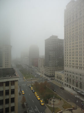 The city was foggy and warm...but now it's windy and cold.