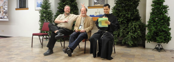 Other people on retreat! Mark Shea (popular blogger), Dr. Brian Scarnecchia, and LAST YEAR'S PRAYER PARTNER Fr. Anthony. He's a Franciscan, too.