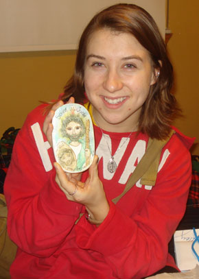 Julia with her Saint Jude plaque!