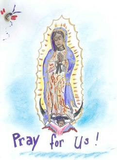 Our Lady of Guadalupe...with noodle detailing in the corner, there. This one utilized paint as a medium, and a gold paint outlines much of the work. This was masterfully done by my cousin, Johanna, who has a side hobby creating icons!