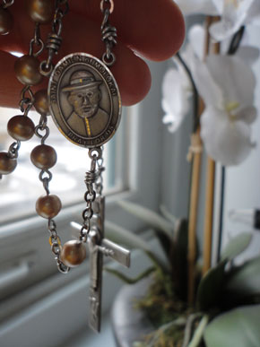 My sister-in-law gifted me with this custom St. Damien of Molokai rosary. It's pretty much the bomb. This story tells why it's so special to me. <3