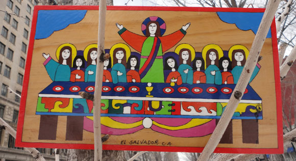 I picked up this piece of art in El Salvador. I love the bright colors and the image of Jesus with his disciples.