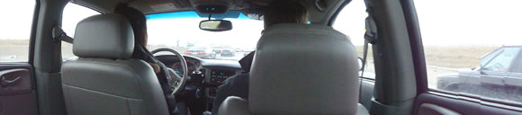 Christine drivin', Josh joshin', me in the back takin' pics.