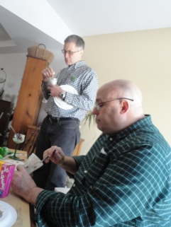 My uncle Bill and my father. My father is wearing green. Clara pointed out that the ONLY green Uncle Bill is wearing is the button-hole detailing on his shirt-pocket. Shameful. And he's legit Irish and everything.