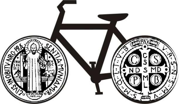 Rough concept: Bike with tires that are the St. Benedict medal.
