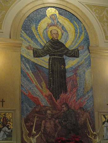 """Mosaic from Marytown of St. Maximilian Kolbe being given a lethal injection on the bottom and being taken to heaven. Story has it that, as a child, he saw a vision of the Blessed Virgin and she offered him a white crown (for purity) and a red crown (for martyrdom). She was like, """"Which one do you want?"""" And he was like, """"BOTH."""" Like a boss."""
