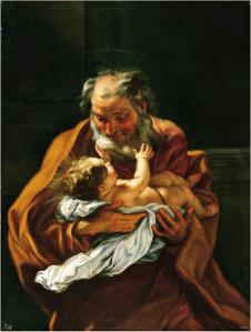 Saint Joseph and the Infant Christ, c. 1670-85 Artist: Giovanni Battista Gaulli. Location: Norton Simon Museum, Pasadena.