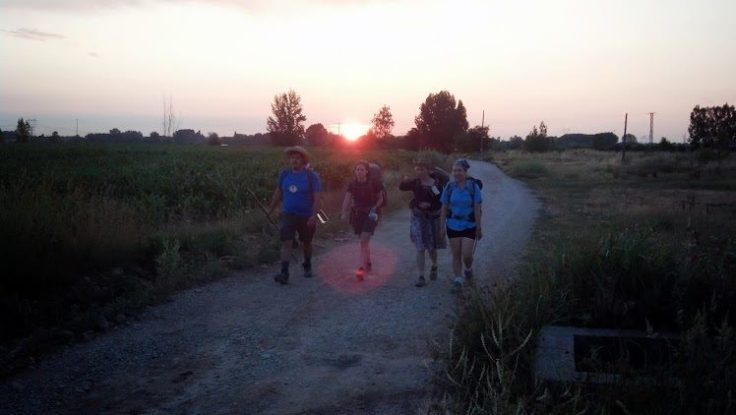 Photo by Bob. Walkin' that Camino as the sun rises.