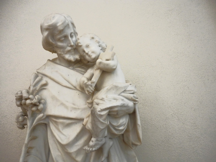 Sweet beebee Jesus snuggles the neck of St. Joseph. Awww. This also from Colorado.