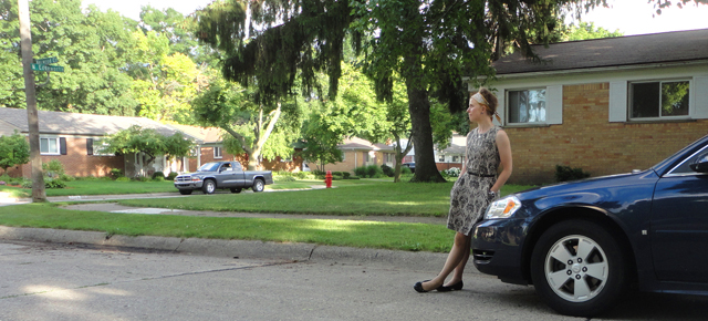 This photo doesn't fully capture how cool my dress is. But, I tried. That's Paul's car, btw.