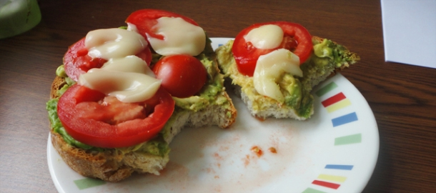 Mashed avocado, sliced tomato, melted cheese sandwich. So simple, yet so heaven at the same time.