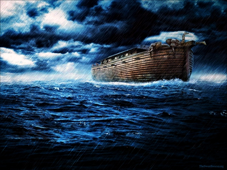 """E'erybody sing along: """"The Lo-rd said, 'Noah, there's gonna be a flood-y, flood'y!'"""""""