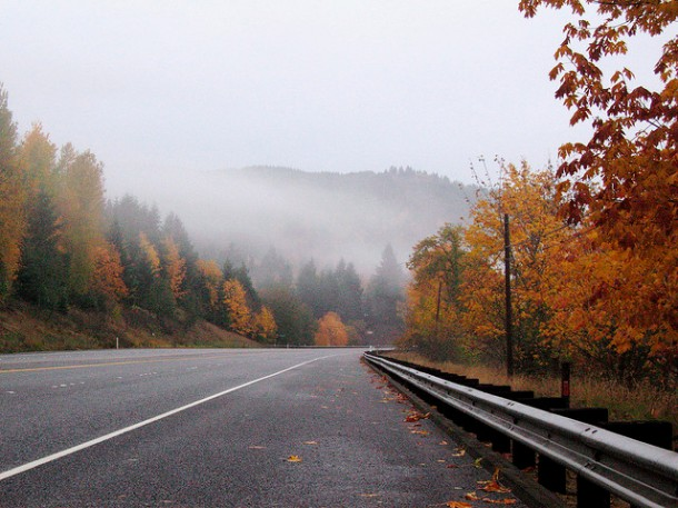 Fall road. Somewheres with mountains. And mist.