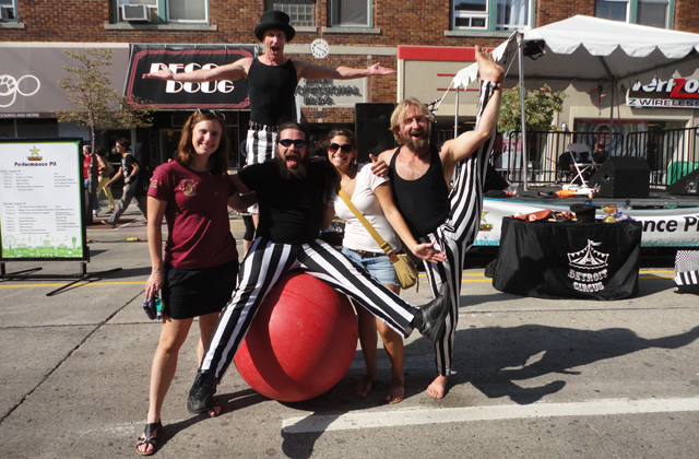 But first, on Saturday, I went to a festival and grabbed this photo of my sister with some of my circus instructors. Heh heh heh! She who hates all things circus!