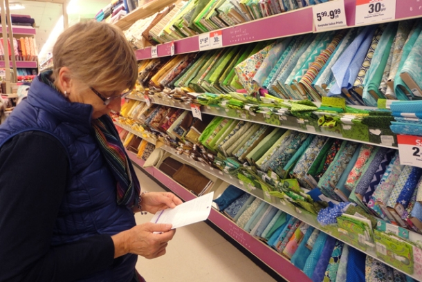 I did go to the fabric store with my mom yesterday. To cope and to touch all of the material.