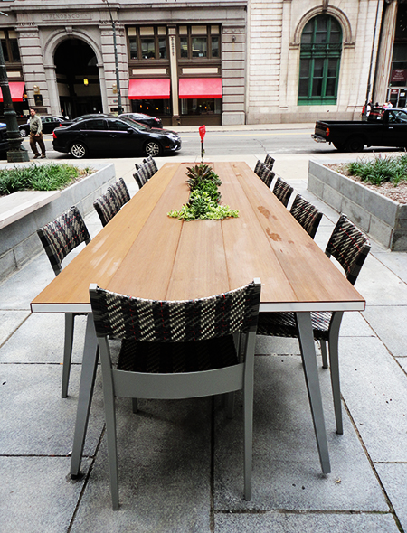 Like this table, WITH SUCCULENTS IN THE MIDDLE.