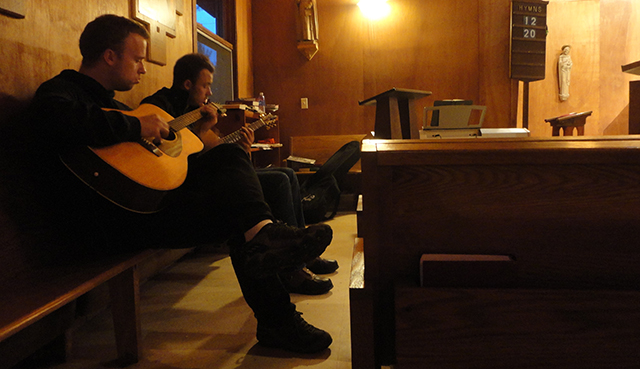 Those genetics are strong. Teh bros, a chapel, some guitars, a bit of music.