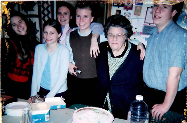 Some of our photos have been ruined in the flood...around the edges like you see here. Anyway! Here are my cousins and the twins and grandma and I.