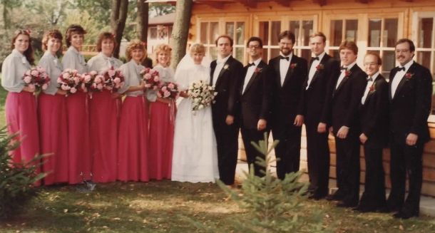 Back to my parents' business/ wedding/ life. 1984. The line-up.