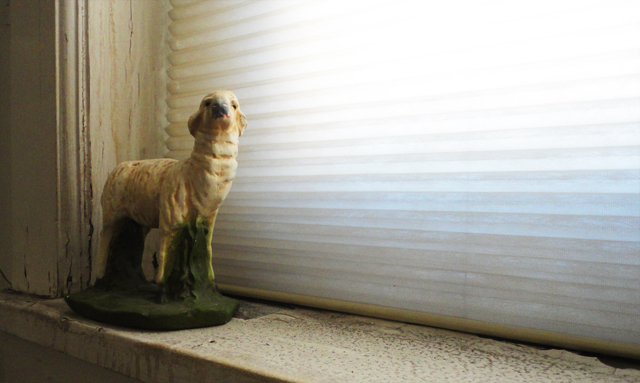And here's a photo of a dusty sheep statue.