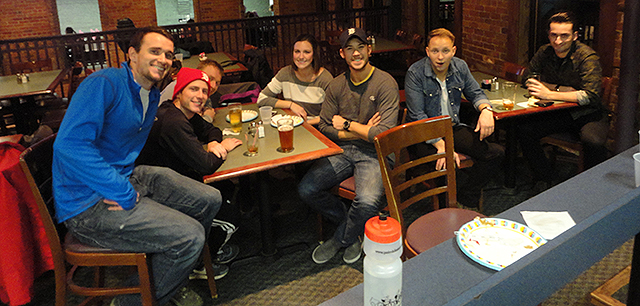 From last Friday. Josh in the Center (ha), with the baseball hat. <3