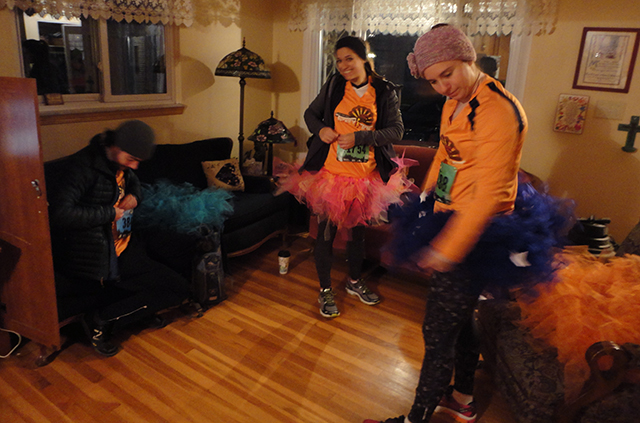 Also, unrelated, Thanksgiving weekend was a thing that happened. Here's a trailer photo of us waking up in the early early morning to run 10K in the cold in tutus. It's ze best.