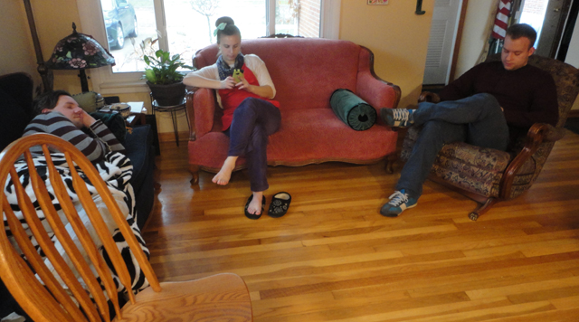 "Calm before the storm. ""Storm"" meaning guests. And there was a little storm, noted on our couch. Early arrival taking a nap."