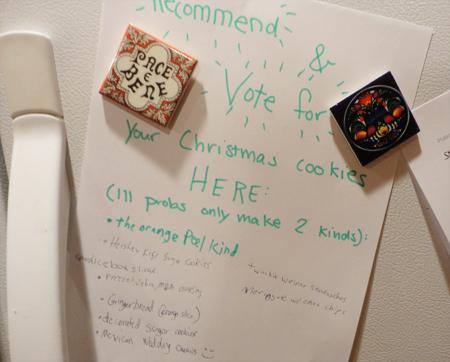 List on the 'fridge.