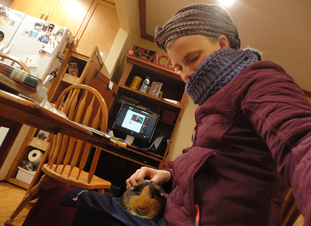 Piggy selfie! (To answer the question you're all asking yourselves: we have heat. I'm just perpetually cold. Therefore jacket and scarf and headscarf and piggy lap-warmer IN EFFECT).