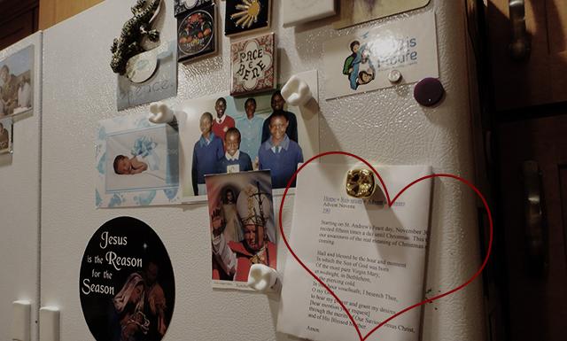 Fridge. Printed-off novena featured en ze heart.