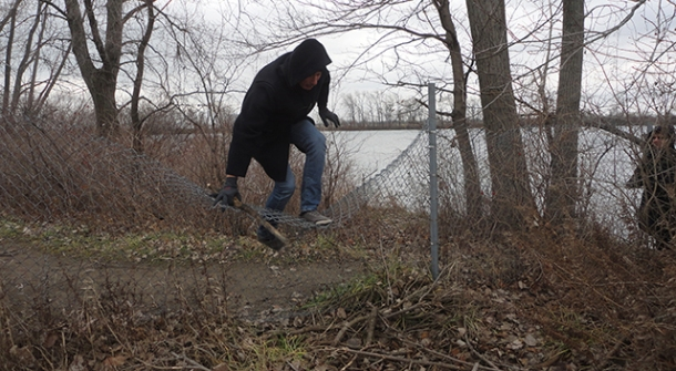 But then we hit a dead-end and were required to climb over and under a series of fences. Ha!