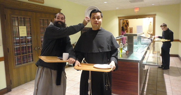 """Old friends Father Pio Maria (<3 <3 <3) and Father Anthony (""""We're glad you're all...safe"""") in line for snacks."""