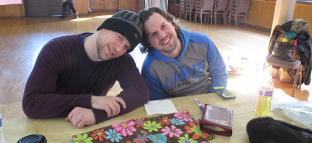 Paul (left) on the retreat last weekend. Winter hats forever.