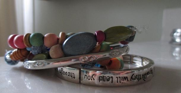 My bracelets, in a pile.