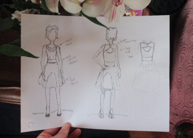 This was my concept-sketch. Well, one of many. The rest are scattered about notepads throughout my office and house and bookbag. And most aren't this complete, either. Only a neckline here, a skirt there.