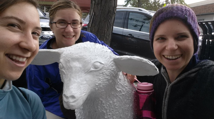Final picture! This was us in the leetle Michigan beach-town...with this fiberglass lamb.