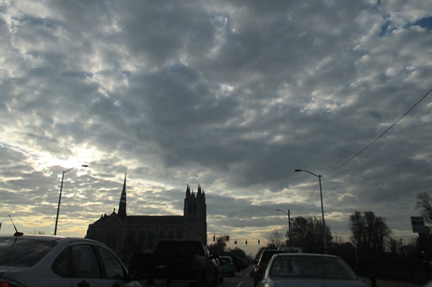 This sky! On my morning commute, past the cathedral!