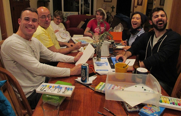And, also, this: art night. Friday night I brought out my old watercolors and taught an impromptu class.